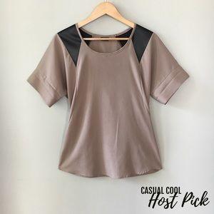 Adrienne Tops - 💥SALE💥 Faux Leather Shoulder Top