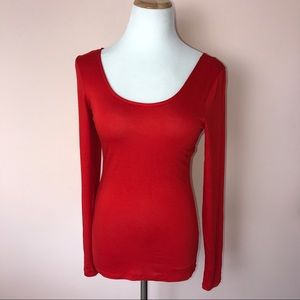 Ultra Flirt Tops - Ultra Flirt Red Long Sleeve Ballet Neckline Top M