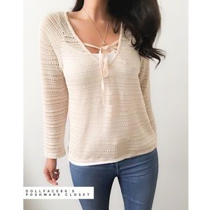 Sanctuary Tan a Knitted Ribbon Top