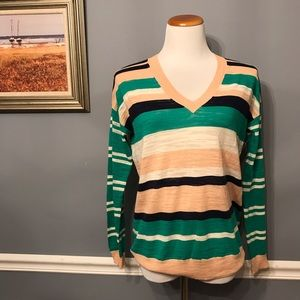 [Madewell] Striped V-Neck Sweater