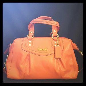 Coach Handbags - Coach Ashley Leather Convertible Orange Satchel