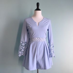 Tea n Cup Dresses & Skirts - Baby Blue Lace Floral Romper