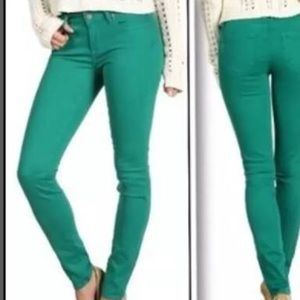 Paige- Skyline Ankle Peg Green Jeans