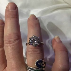Jewelry - Silver & Cubic Zirconia Ring Size 6