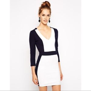 French Connection Black and White Textured Dress
