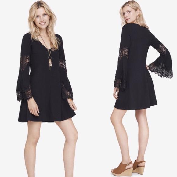 de154d8b030 Express Black Lace Bell Sleeve Fall Dress LBD