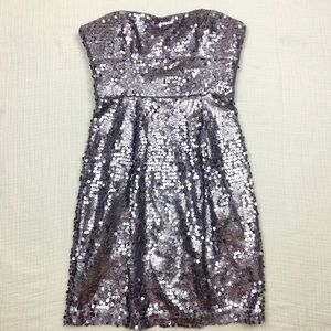 BCBGmaxazria Carole Sequin Strapless Dress Lilac