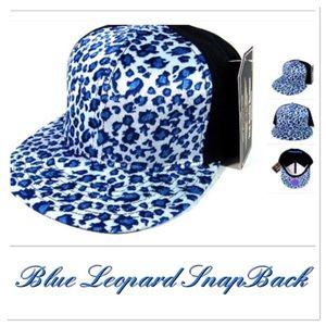 Blue Leopard Print Snapback Cap