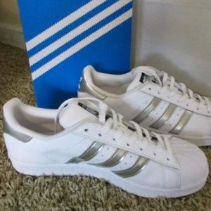 adidas Shoes - New Adidas Superstar Metallic Silver Sneakers 10