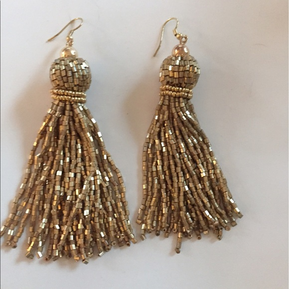 H&M Jewelry - Gold fringe, tassel earrings