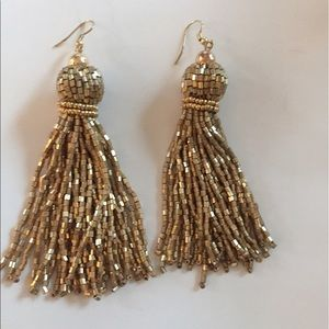 Gold fringe, tassel earrings