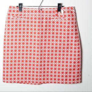 Ann Taylor Dresses & Skirts - Ann Taylor Orange White Skirt Geometric Circle 14