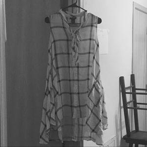 Sleeveless Semi-Plaid Summer Dress