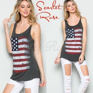 Scarlet Rose Boutique Tops - 🌹🇺🇸Charcoal American Flag Tank Tops🇺🇸🌹