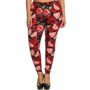 The UC Pants - Floral print roses plus size leggings black TC