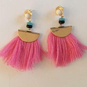 Pink tassel earrings with beads