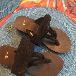 Sanuk Shoes - Sanuk Black/Gold Yoga Sling Wedges Metallic Fabric