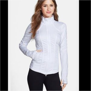 ba57515f3b Zella White Pleated Hem Shirred Jacket
