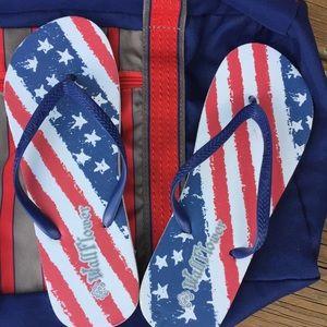 Wildflower Shoes - 🎉Host Pick🎉NWT Patriotic FlipFlop 7/8 Beach/Pool