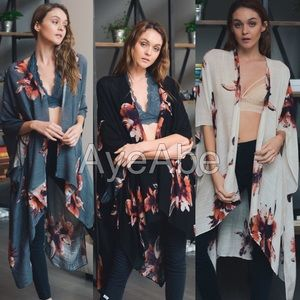 Accessories - Floral kimono wrap coverup cream, black charcoal