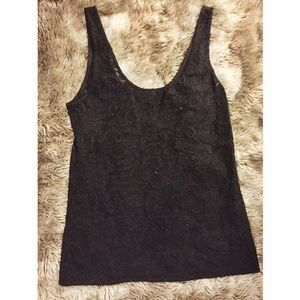Tops - Lacy Black Tank