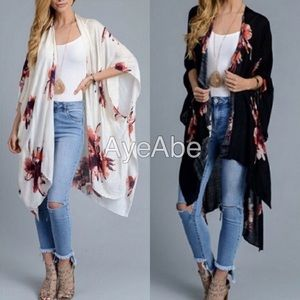 Accessories - Floral print kimono wrap coverup black, cream sexy