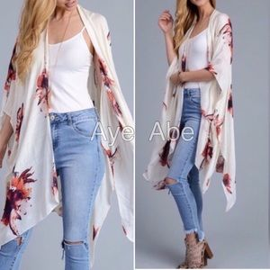 Accessories - Floral print wrap kimono coverup beach cream