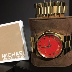 Michael Kors Accessories - Michael Kors Gold Watch with Red Face