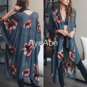 Accessories - Floral print kimono wrap cover up cardigan new