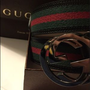Gucci Other - Authentic Black Green Red Gucci Belt