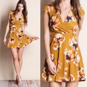 LULU floral print dress - MUSTARD
