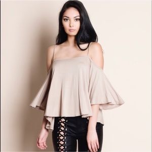 DEBBIE off shoulder flutter top - TAUPE