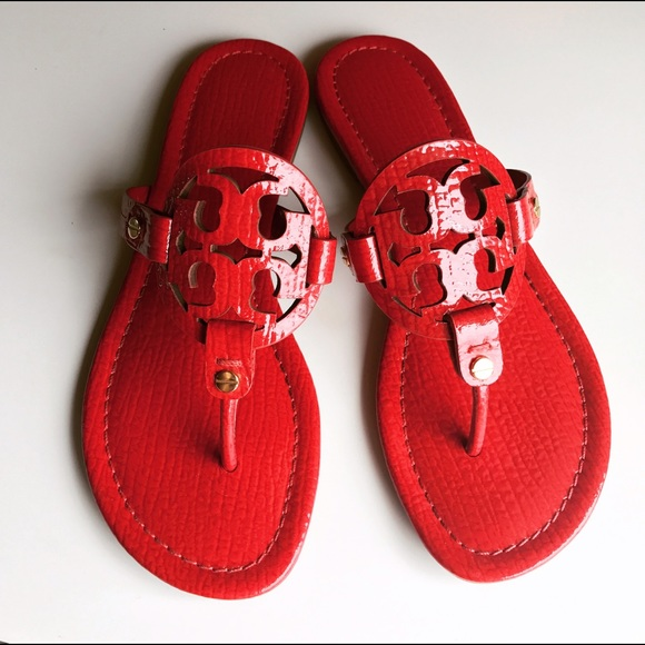 bfd2da3bc2db New Tory Burch Red Maple Flower Miller Sandals. M 591be52f36d594283a198a5f