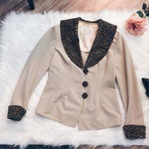 Vintage Jackets & Blazers - Vtg 90s Leopard Round Collar Rockabilly Blazer S/M