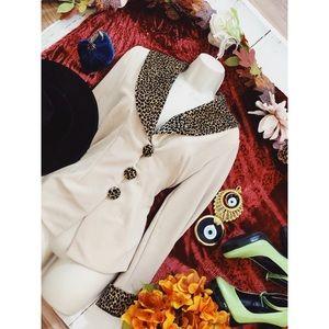 Vintage Leopard Round Collar Rockabilly Blazer M 6