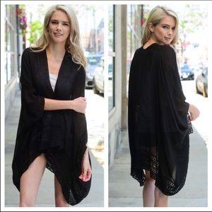 Black Lace Trim Summer Kimono