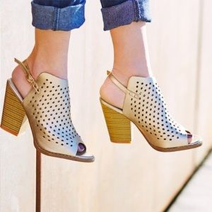 Gold Perforated Cutout Chunky Heel Ankle Bootie