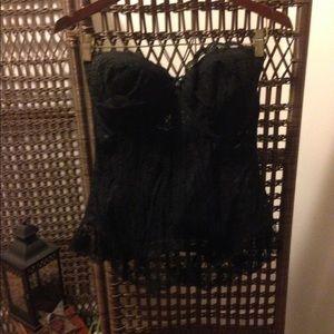 Goddess Other - Goddess Retro Black Lace Full Length Bustier 42C