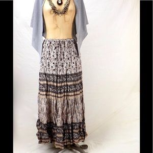 vintage broomstick skirt boho prairie long tiered