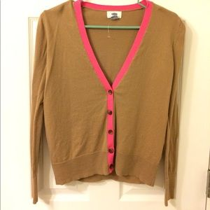 Old Navy brown cardigan with pink trim