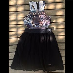 LF: lion & black tutu cut out dress w/ zip-up back