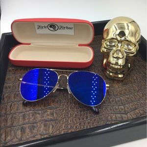 Other - Gold frames with blue mirror aviator & hardcase