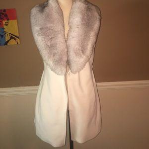White House Black Market Other - White House Black Market ecru/grey faux fur vest