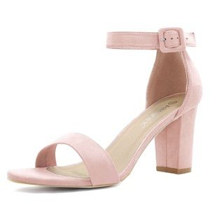 Allegra K Shoes - Chunky Heel Ankle Strap Sandals light pink