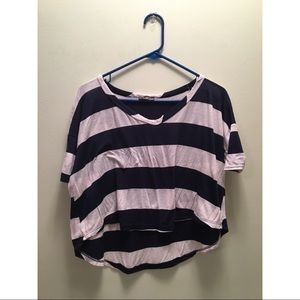 Body Central Blue Striped Crop Top