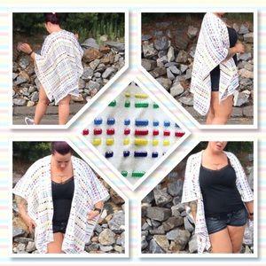 Chico's Sweaters - Chico's Multi Color Woven Ruana Wrap