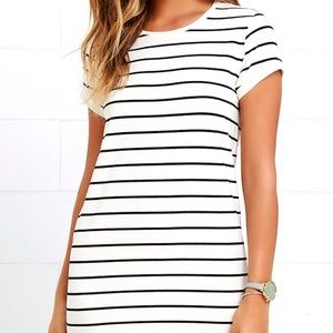 lulus Dresses & Skirts - Lulus NWT black and cream striped shirt dress M