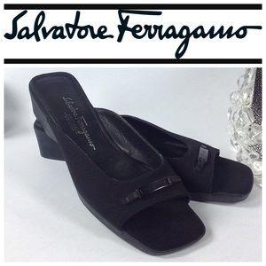 Salvatore Ferragamo Shoes - SALVATORE FERRAGAMO Black Fabric Sandals Size 8.5