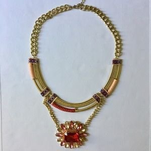 Jewelmint Statement Necklace Gold and Red