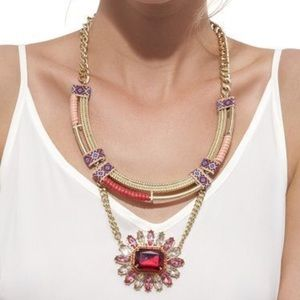 Jewelmint Sol Stone Statement Necklace Gold Red